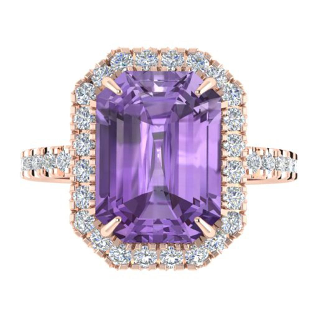5.03 ctw Amethyst And VS/SI Diamond Ring 14K Rose Gold - REF-51Y3X - SKU:21416