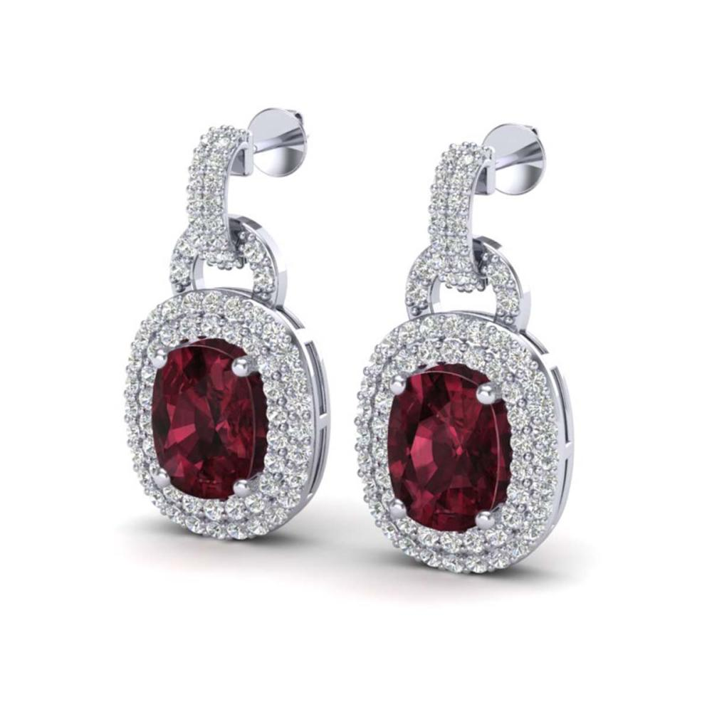 5 ctw Garnet And VS/SI Diamond Earrings Halo 14K White Gold - REF-150N2A - SKU:20148