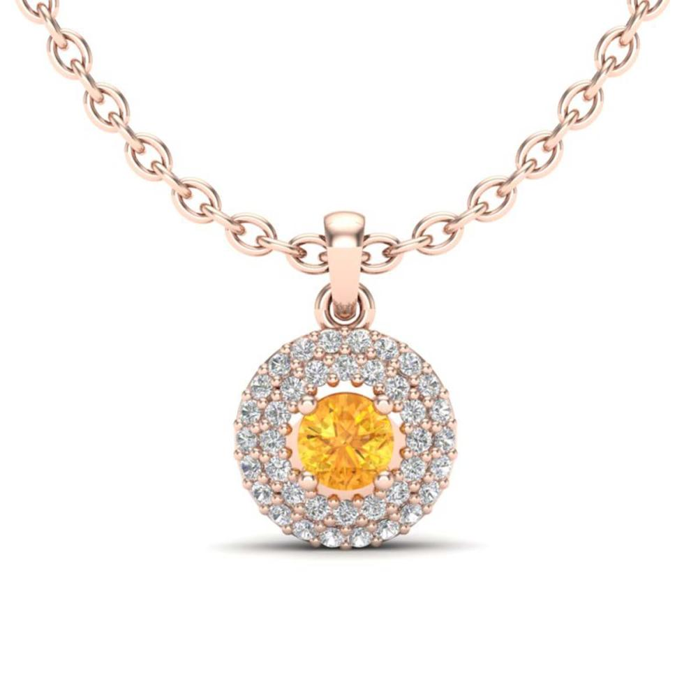 0.60 ctw Citrine & VS/SI Diamond Necklace 14K Rose Gold - REF-46H7M - SKU:20532