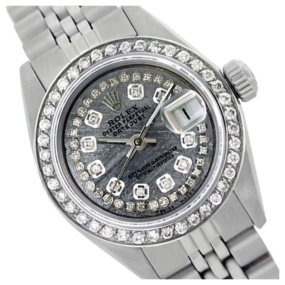 Rolex Men's Stainless Steel, QuickSet, Diamond Dial & Diamond Bezel - REF-557T2K