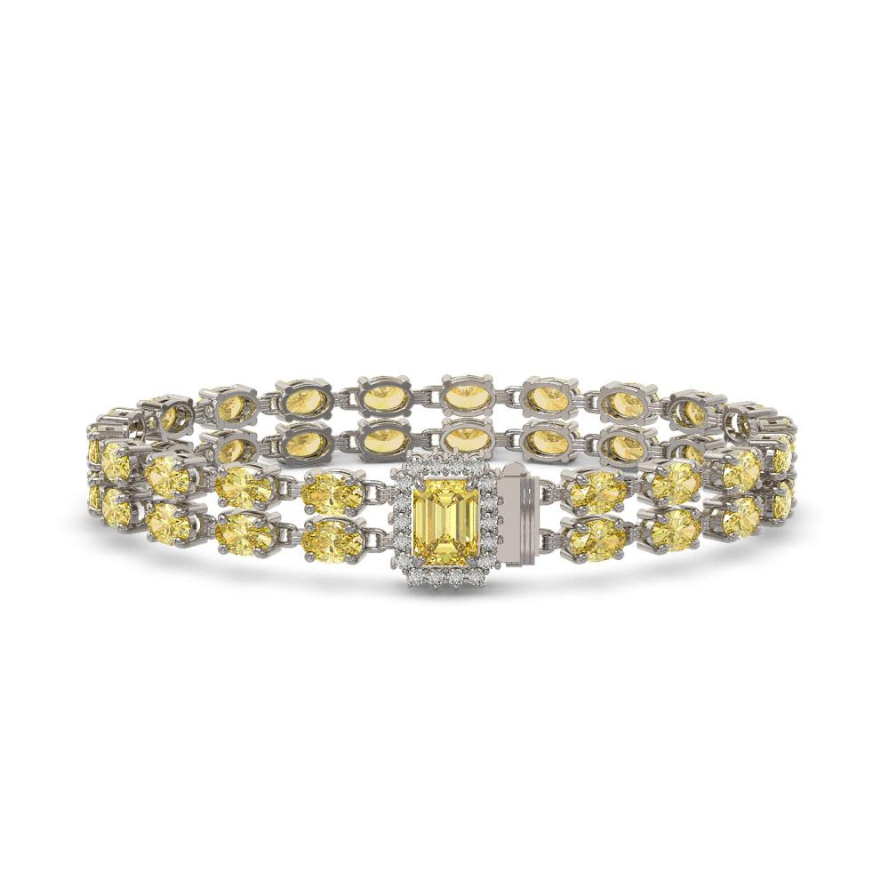 13.88 ctw Citrine & Diamond Bracelet 14K White Gold - REF-168R2K - SKU:45749