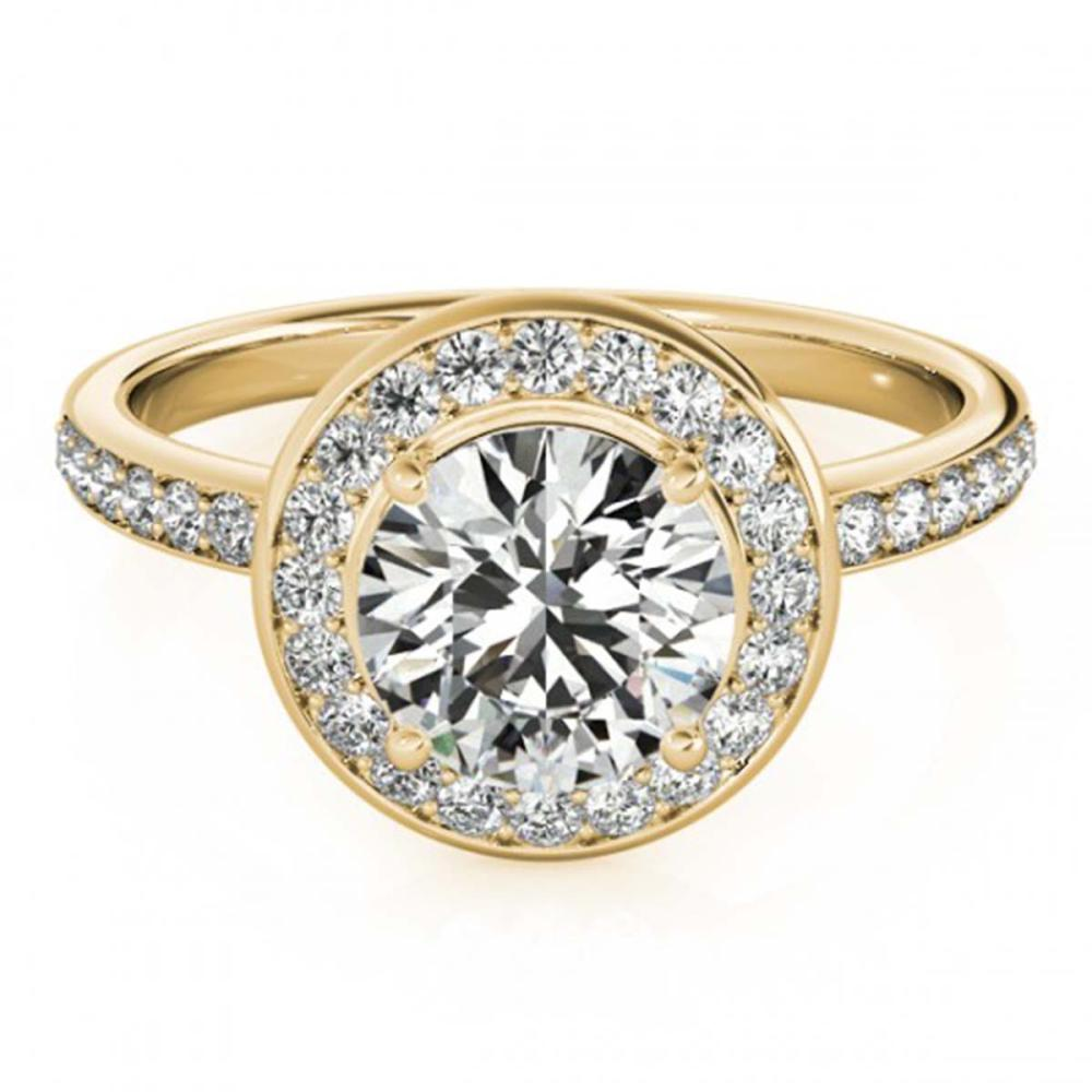 1.08 ctw VS/SI Diamond Solitaire Halo Ring 14K Yellow Gold - REF-135R2K - SKU:24835