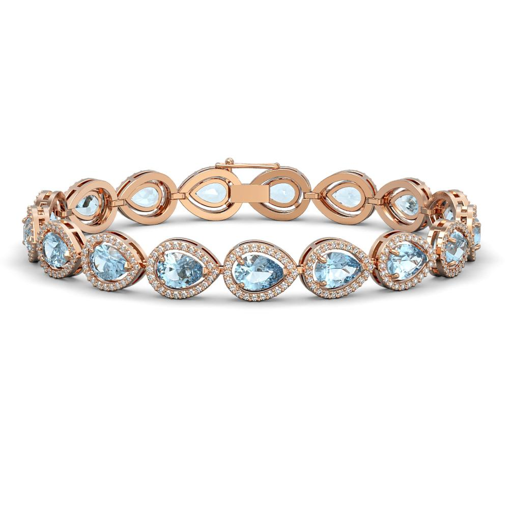 16.59 ctw Sky Topaz & Diamond Halo Bracelet 10K Rose Gold - REF-271K8W - SKU:41121