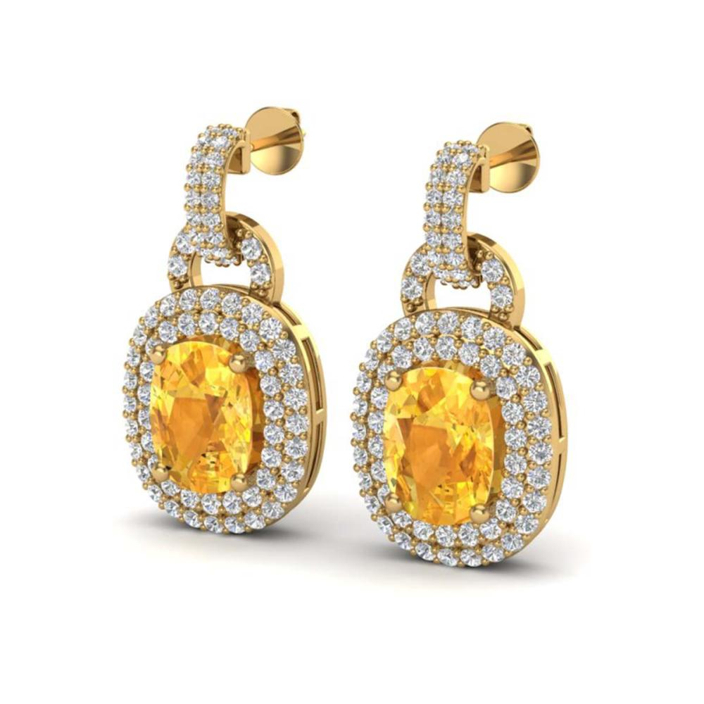 5 ctw Citrine And VS/SI Diamond Earrings 14K Yellow Gold - REF-125N5A - SKU:20144