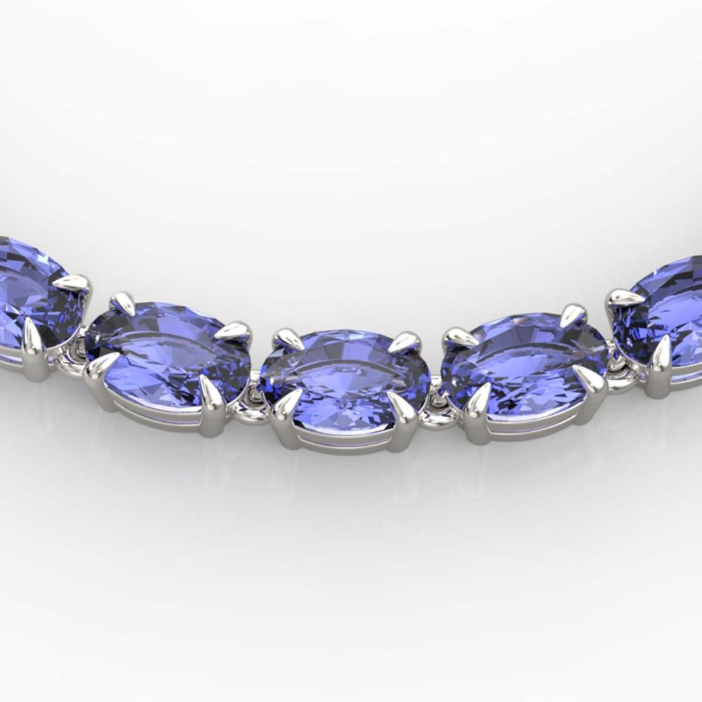 40 ctw Tanzanite Eternity Tennis Necklace 14K White Gold - REF-330F5N - SKU:23381
