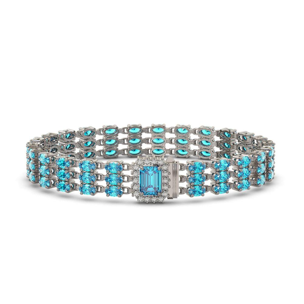 26.02 ctw Swiss Topaz & Diamond Bracelet 14K White Gold - REF-232R7K - SKU:45968