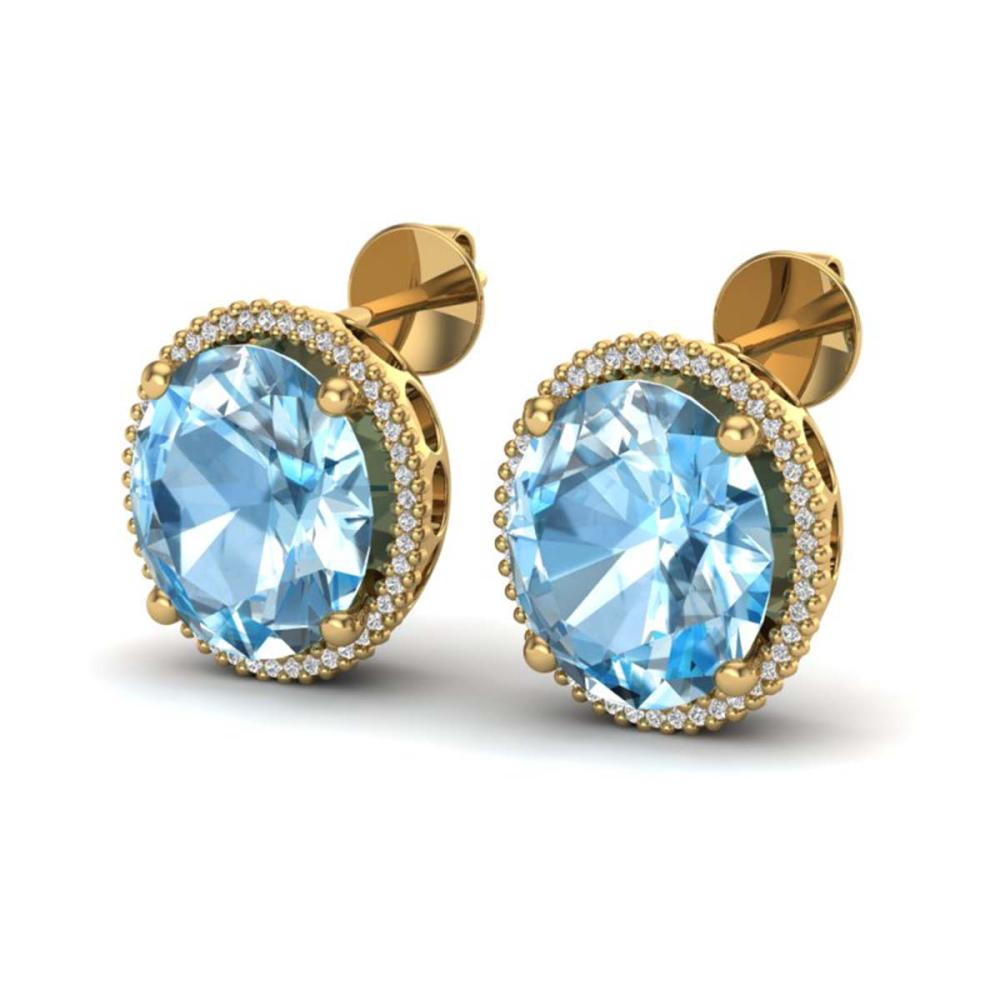 25 ctw Sky Blue Topaz & VS/SI Diamond Earrings 18K Yellow Gold - REF-125V6Y - SKU:20266