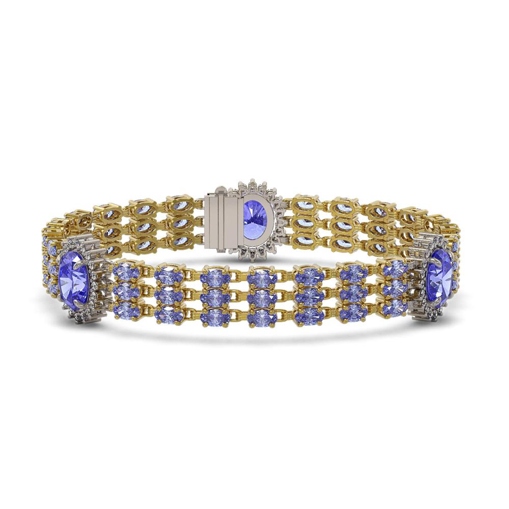 29.71 ctw Tanzanite & Diamond Bracelet 14K Yellow Gold - REF-358V9Y - SKU:45262