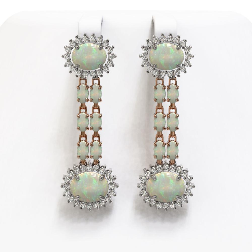 6.73 ctw Opal & Diamond Earrings 14K Rose Gold - REF-165R5K - SKU:44298