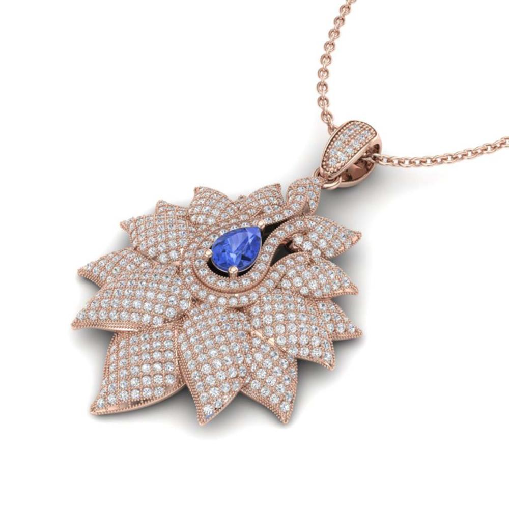 3 ctw Tanzanite & VS/SI Diamond Necklace 18K Rose Gold - REF-290H9M - SKU:22573