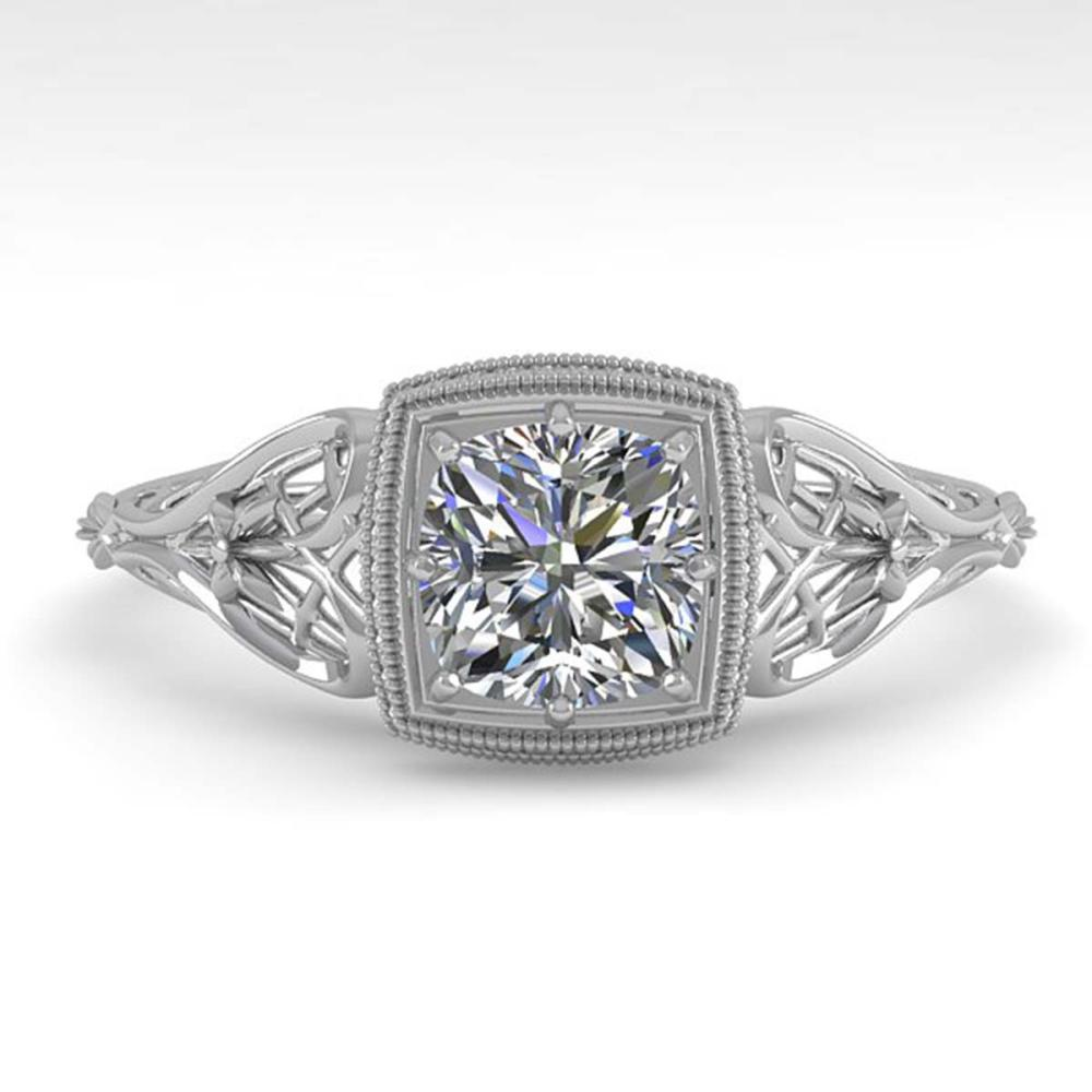 0.50 ctw VS/SI Cushion Diamond Ring Art Deco 14K White Gold - REF-107X3R - SKU:29823