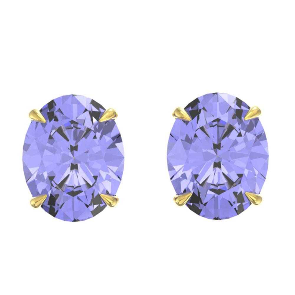 7 ctw Tanzanite Stud Earrings 18K Yellow Gold - REF-107H3M - SKU:21684