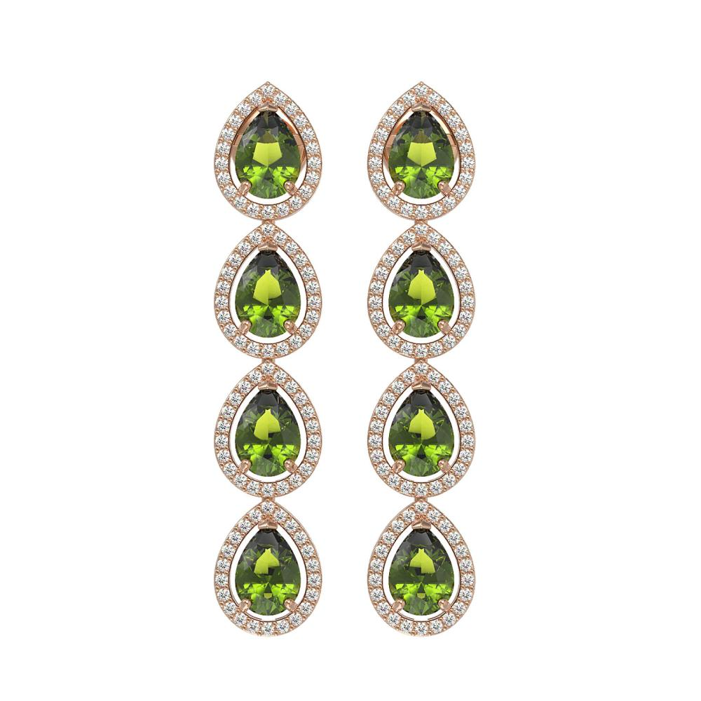 7.88 ctw Tourmaline & Diamond Halo Earrings 10K Rose Gold - REF-178W5H - SKU:41160
