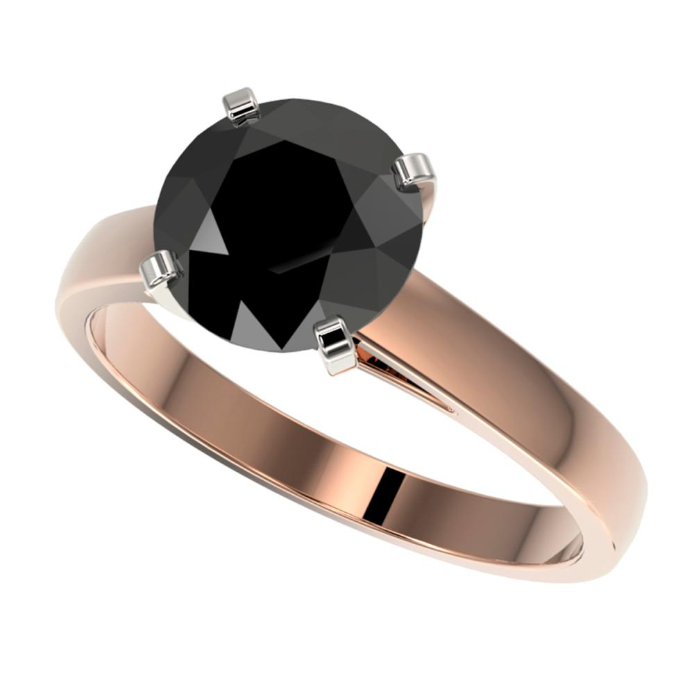 2.59 ctw Fancy Black Diamond Solitaire Ring 10K Rose Gold - REF-55A5V - SKU:36564
