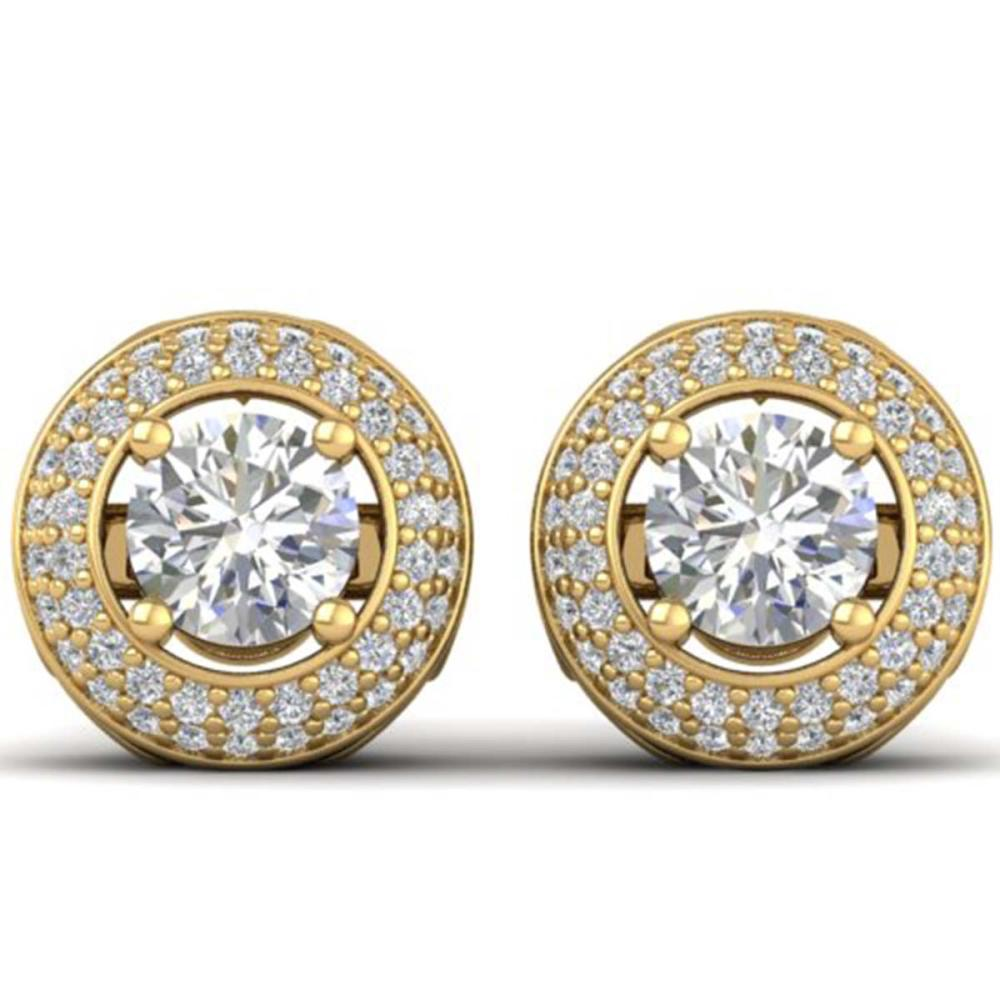 1.75 ctw VS/SI Diamond Art Deco Stud Earrings 18K Yellow Gold - REF-220Y9X - SKU:32749