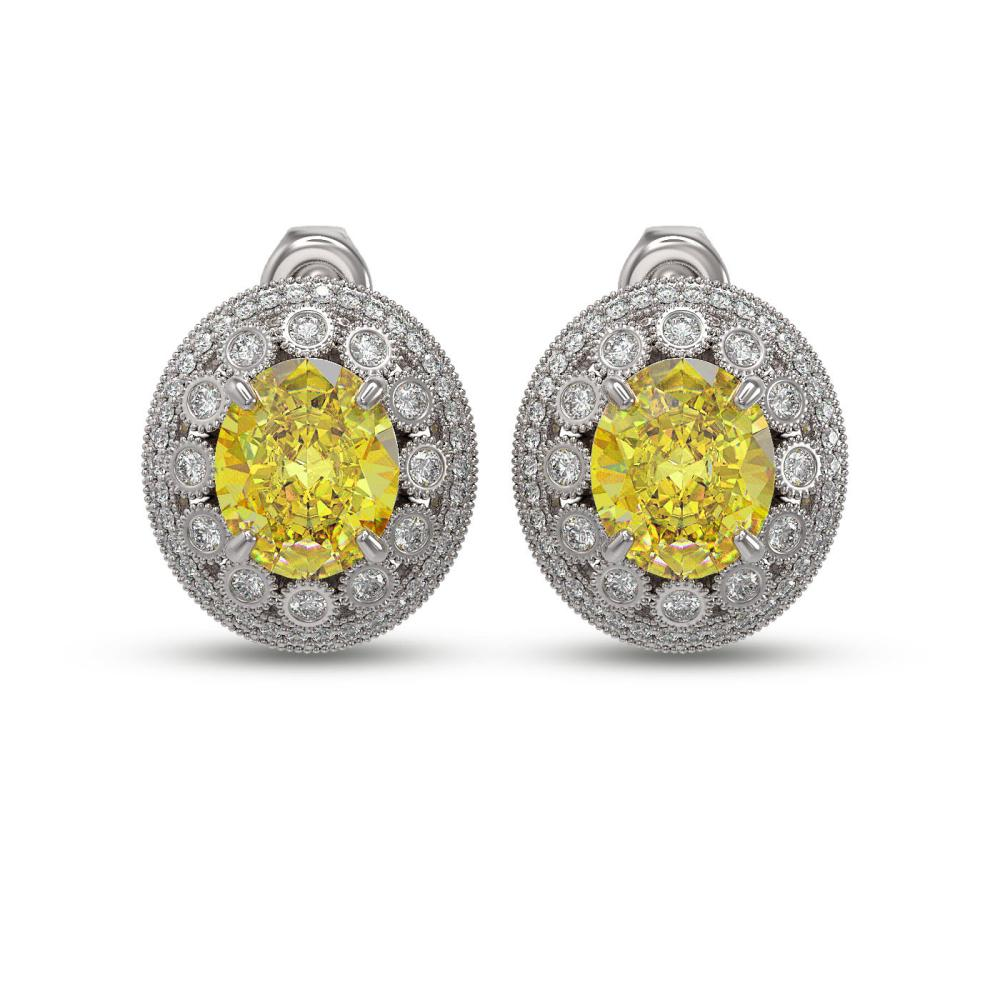 15.03 ctw Canary Citrine & Diamond Earrings 14K White Gold - REF-277N3A - SKU:43805