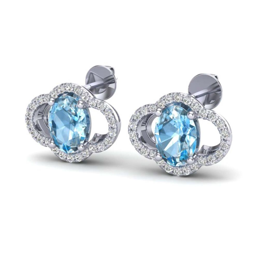4 ctw Sky Blue Topaz & VS/SI Diamond Earrings 10K White Gold - REF-58R2K - SKU:20286