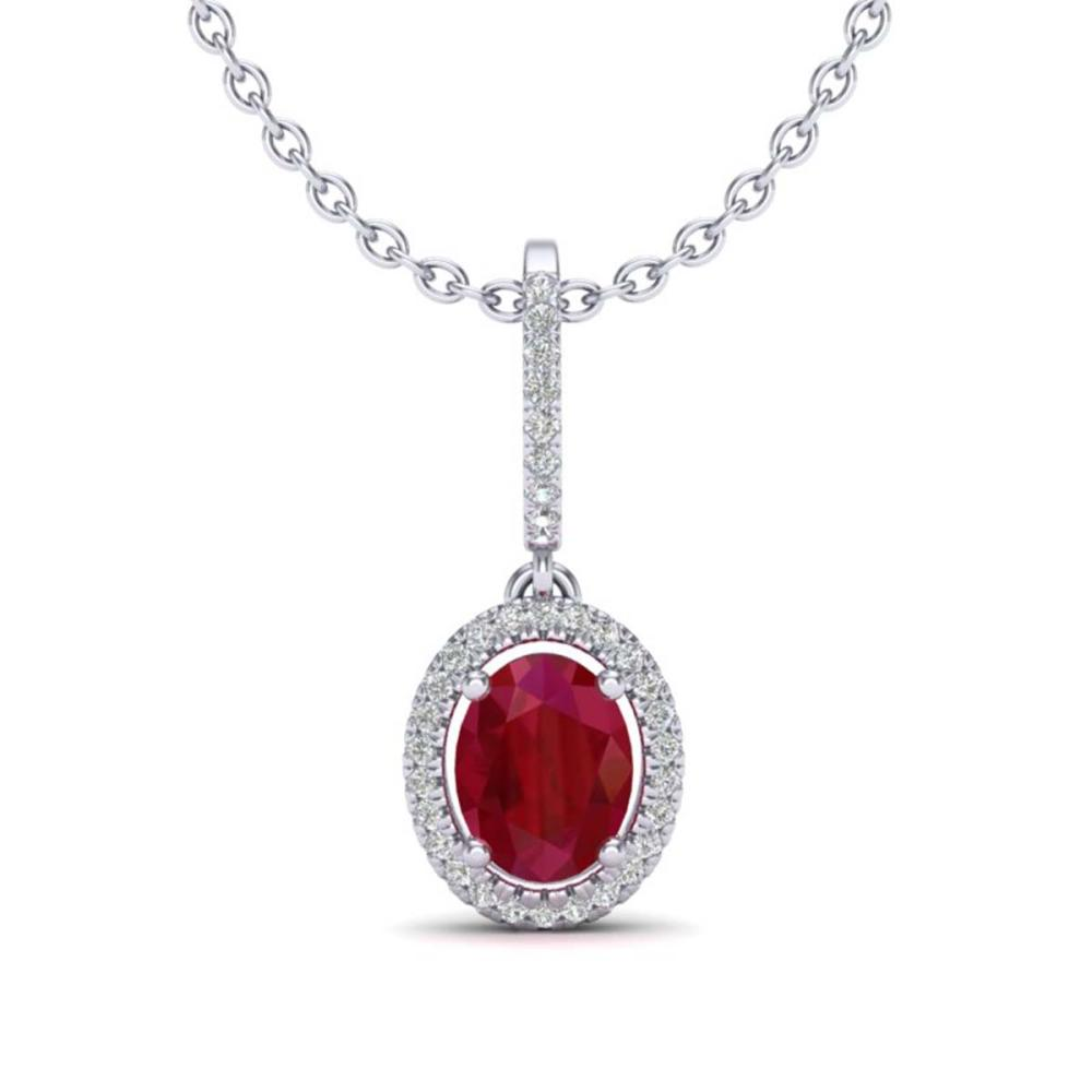 2 ctw Ruby & VS/SI Diamond Necklace Halo 18K White Gold - REF-70Y9X - SKU:20667