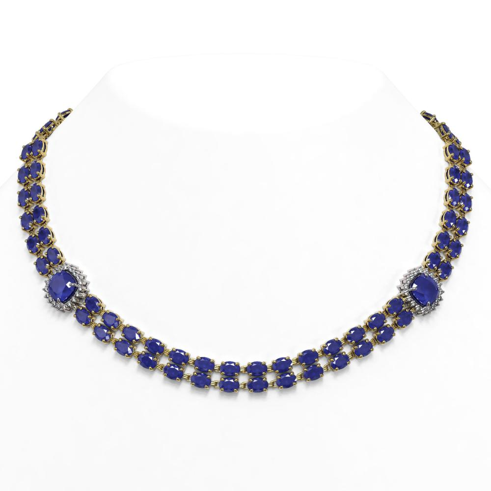 43.97 ctw Sapphire & Diamond Necklace 14K Yellow Gold - REF-438V2Y - SKU:44689