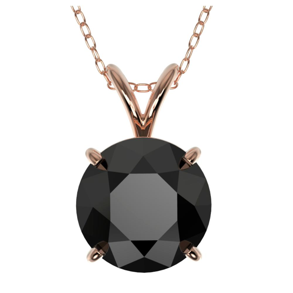 2.09 ctw Fancy Black Diamond Solitaire Necklace 10K Rose Gold - REF-58V5Y - SKU:36812