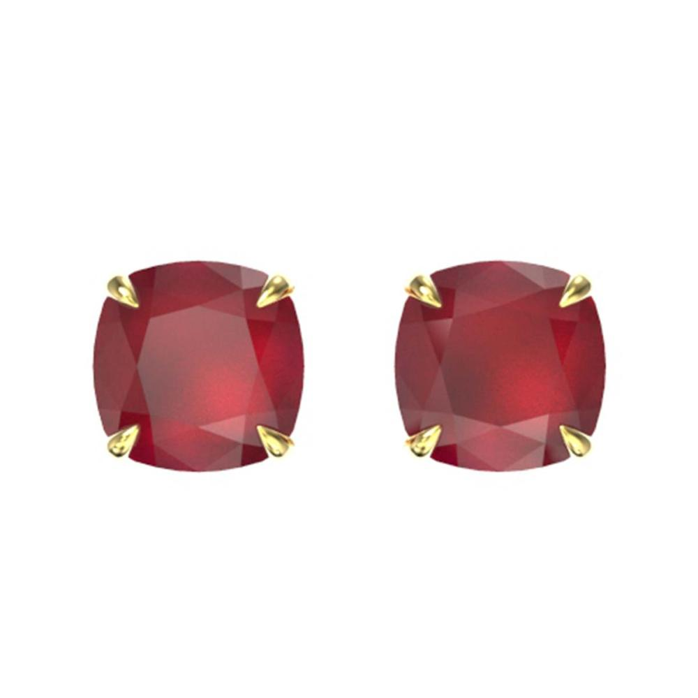 4 ctw Cushion Cut Ruby Stud Earrings 18K Yellow Gold - REF-52V7Y - SKU:21759