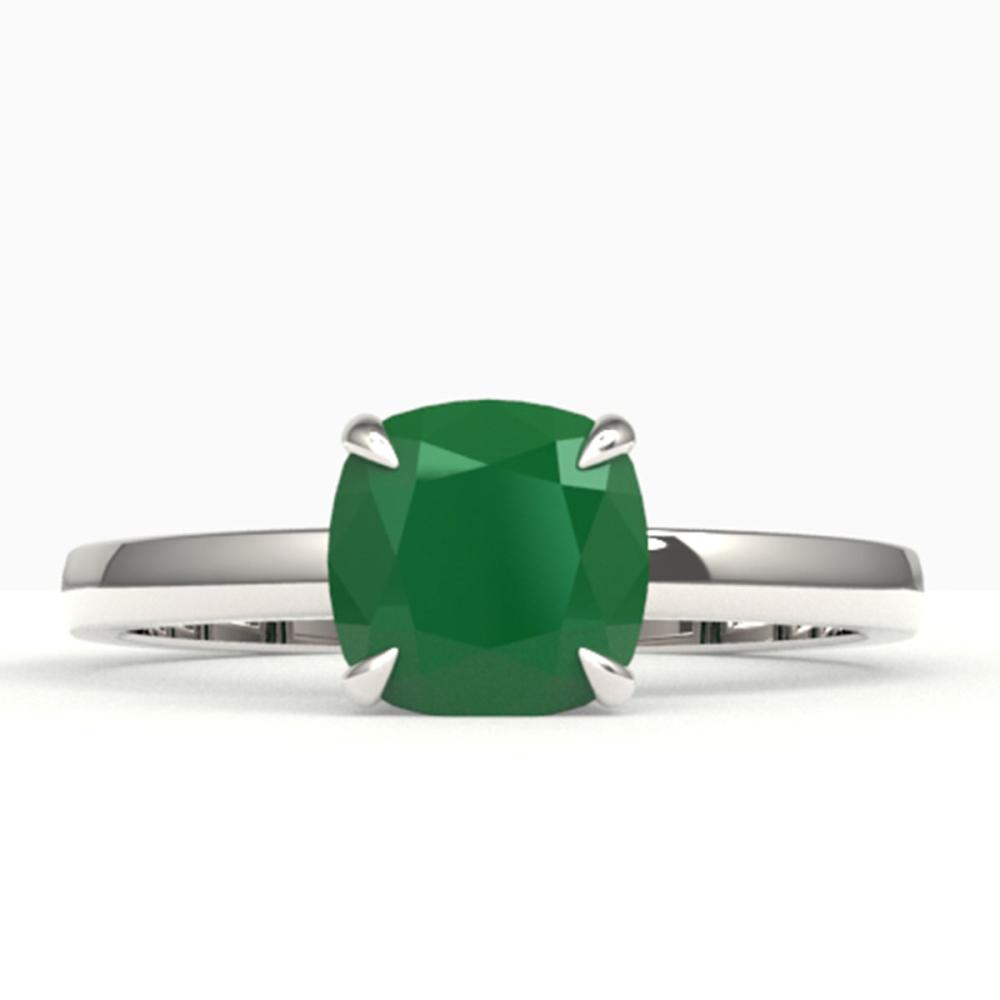 2 ctw Cushion Cut Emerald Solitaire Ring 18K White Gold - REF-37V3Y - SKU:22140