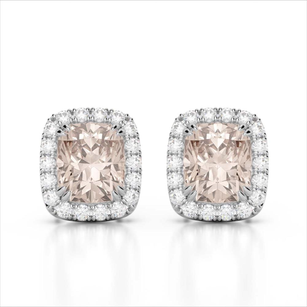2.50 ctw Morganite & VS/SI Diamond Earrings 10K White Gold - REF-57Y3X - SKU:22866