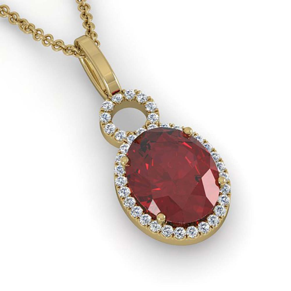 4 ctw Garnet & Halo VS/SI Diamond Necklace 14K Yellow Gold - REF-45X3R - SKU:22763