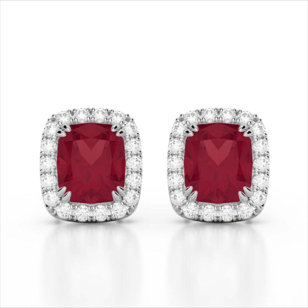 2.50 ctw Ruby & VS/SI Diamond Earrings 10K White Gold - REF-49M3F - SKU:22868