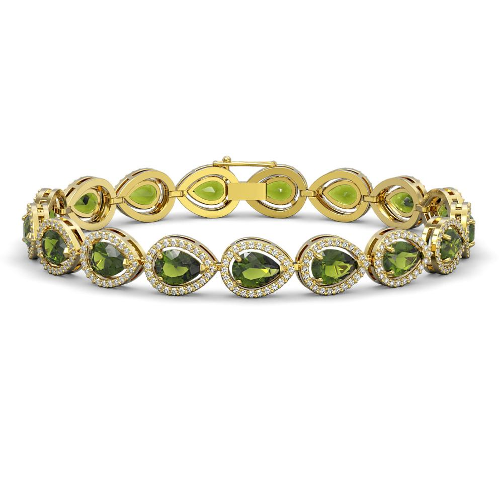 16.93 ctw Tourmaline & Diamond Halo Bracelet 10K Yellow Gold - REF-400V2Y - SKU:41113