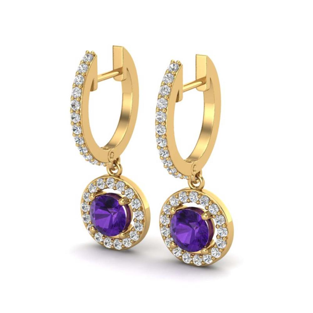 1.75 ctw Amethyst & VS/SI Diamond Earrings 18K Yellow Gold - REF-86W2H - SKU:23247
