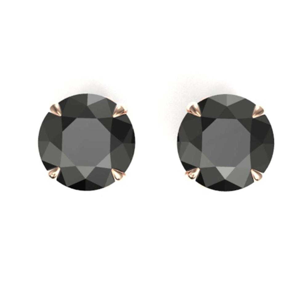 4 ctw Black VS/SI Diamond Earrings 14K Rose Gold - REF-125F5N - SKU:21814