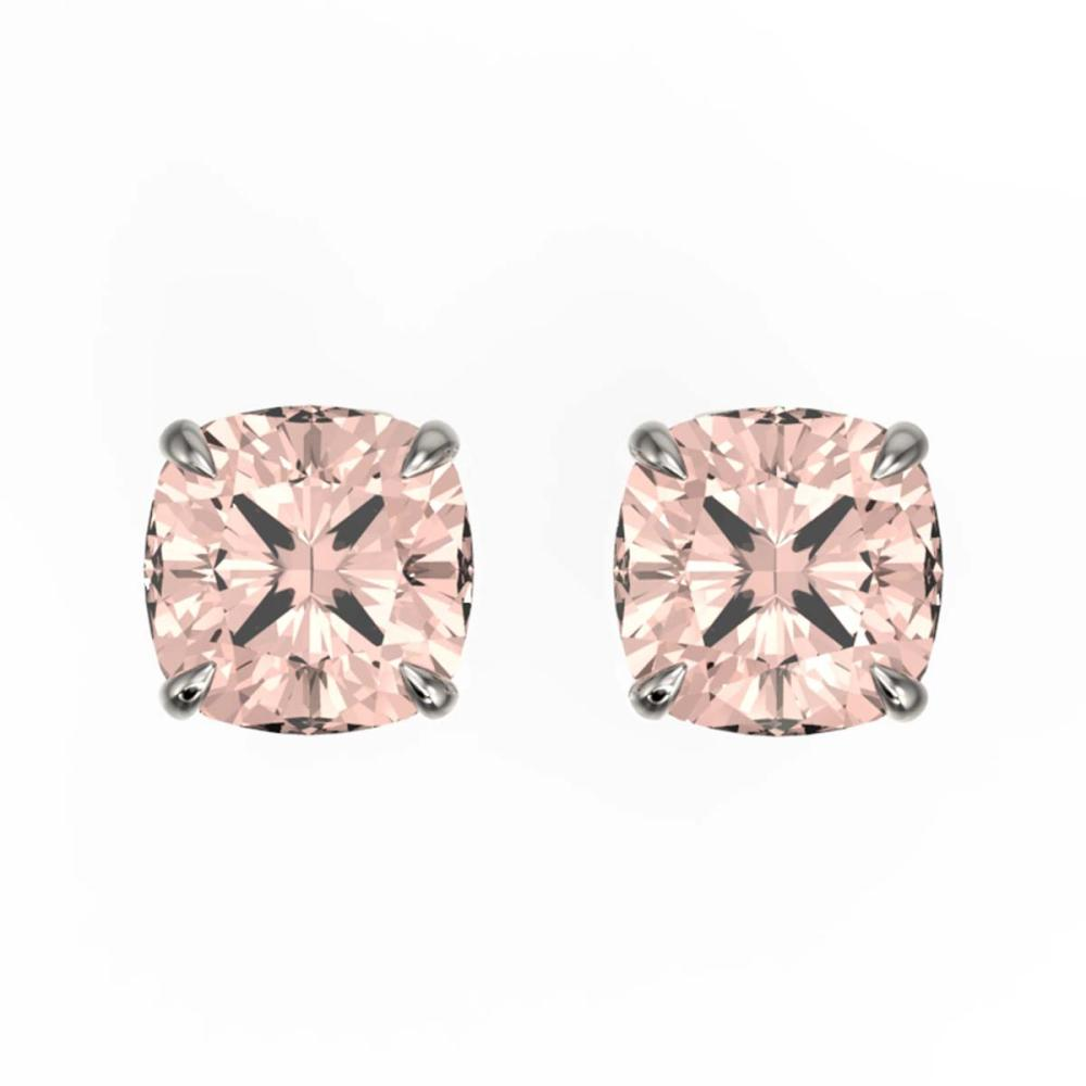 3 ctw Cushion Cut Morganite Stud Earrings 18K White Gold - REF-52R7K - SKU:21752