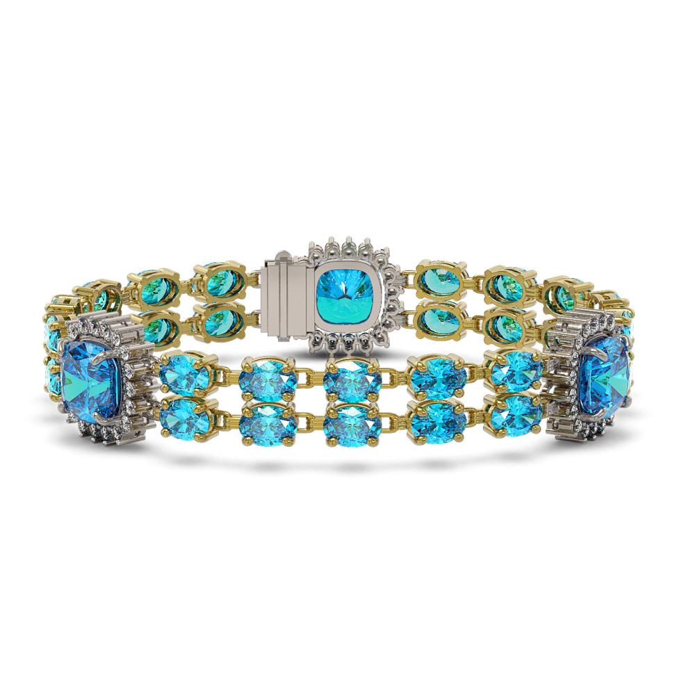 18.97 ctw Swiss Topaz & Diamond Bracelet 14K Yellow Gold - REF-237H8M - SKU:44773