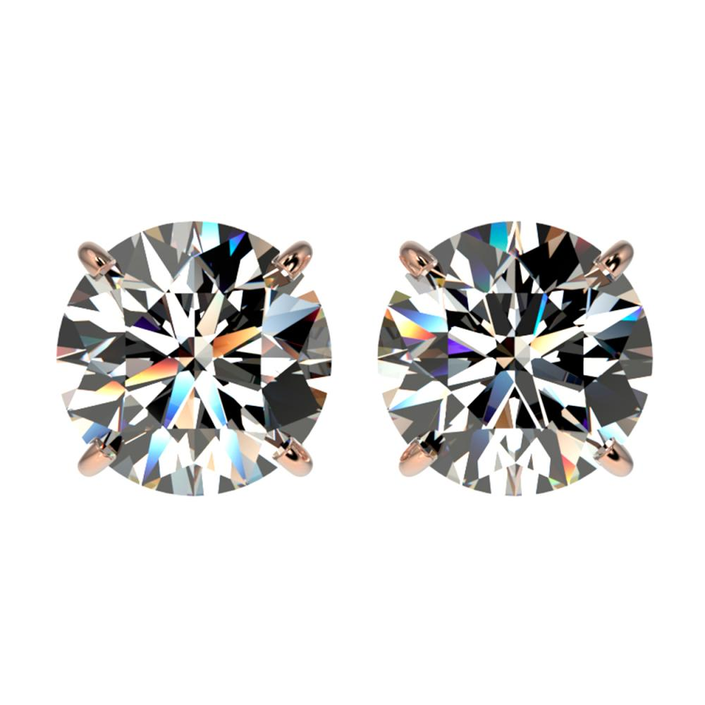 3 ctw H-SI/I Diamond Stud Earrings 10K Rose Gold - REF-735X2R - SKU:33121