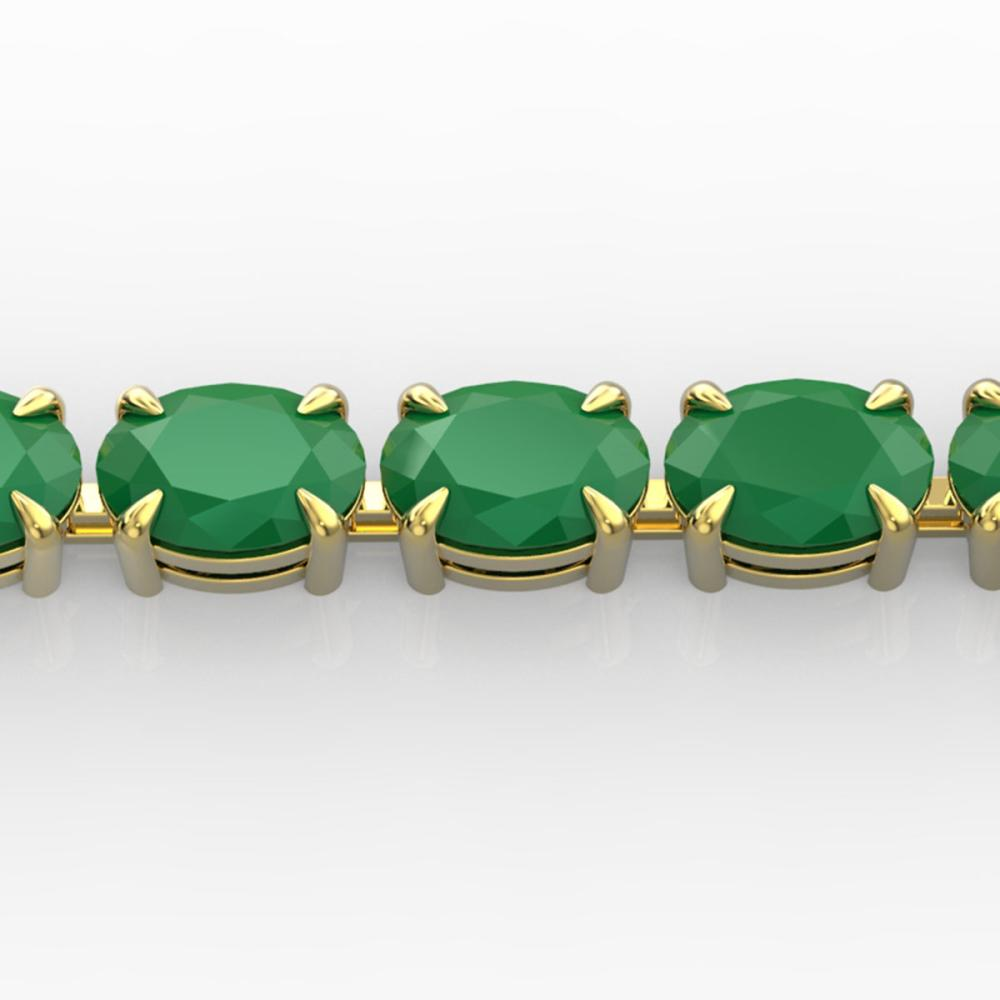 29 ctw Emerald Eternity Bracelet 14K Yellow Gold - REF-180X2R - SKU:23388