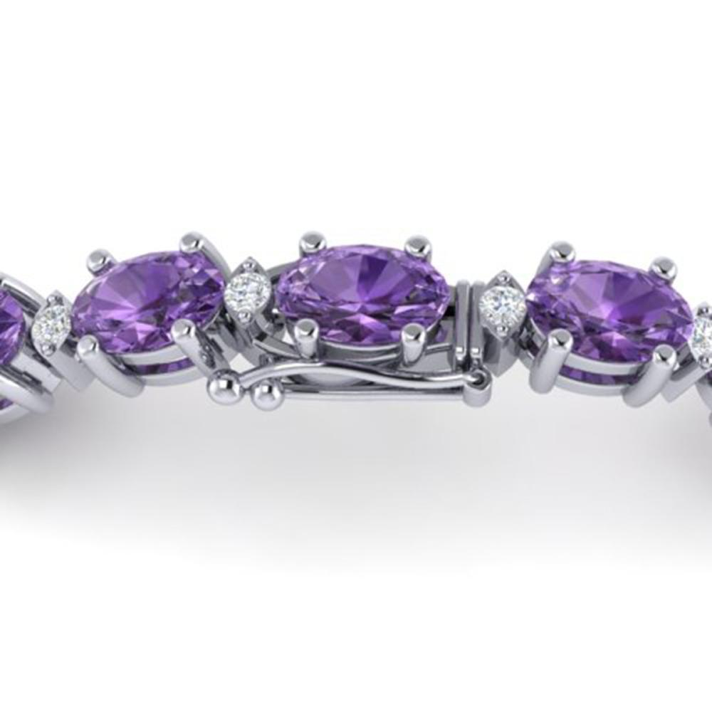 12 ctw Amethyst & VS/SI Diamond Eternity Bracelet 10K White Gold - REF-72A5V - SKU:21437
