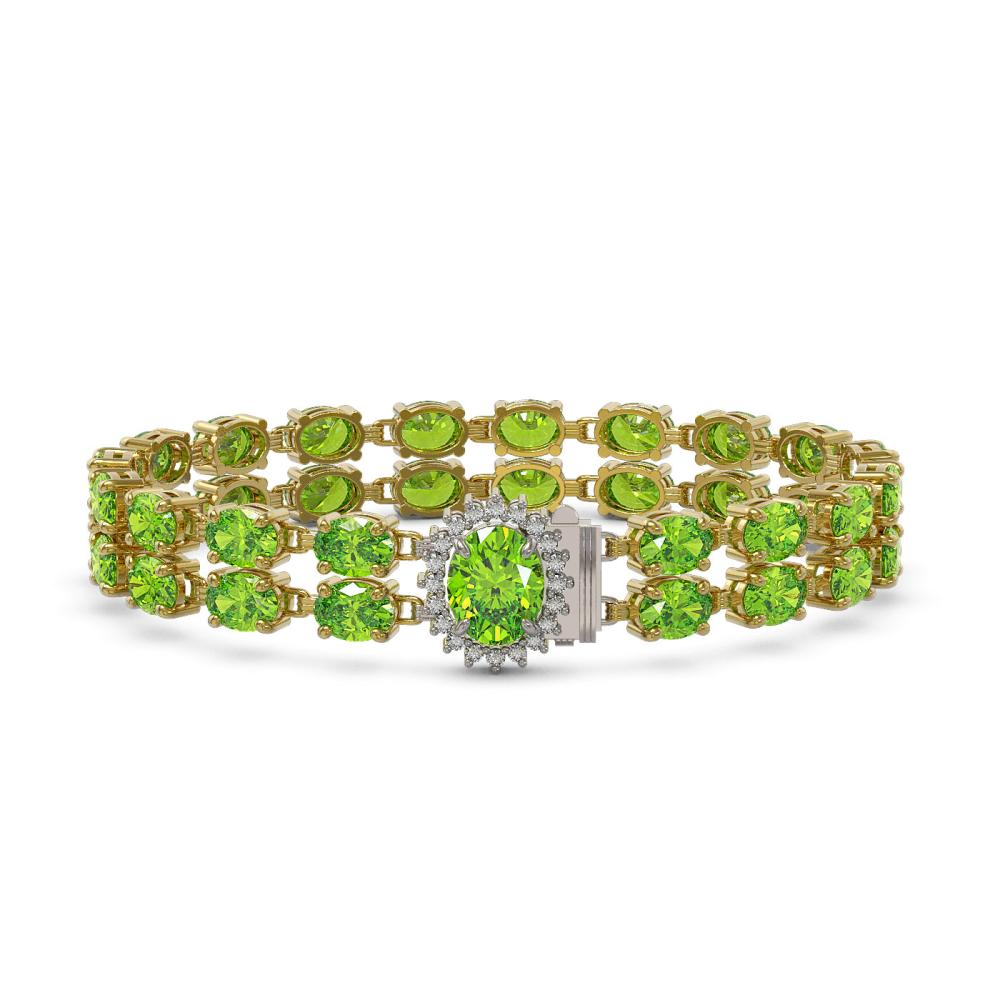 17.26 ctw Peridot & Diamond Bracelet 14K Yellow Gold - REF-140A3V - SKU:45451