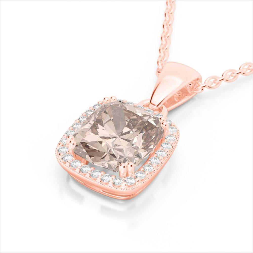 3 ctw Morganite & VS/SI Diamond Necklace 14K Rose Gold - REF-81F8N - SKU:22827