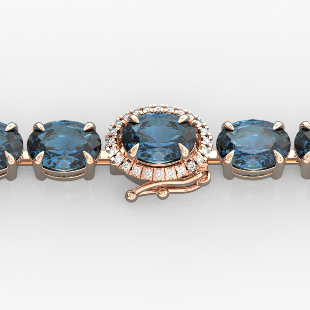 36 ctw London Blue Topaz & VS/SI Diamond Bracelet 14K Rose Gold - REF-128A9V - SKU:23447