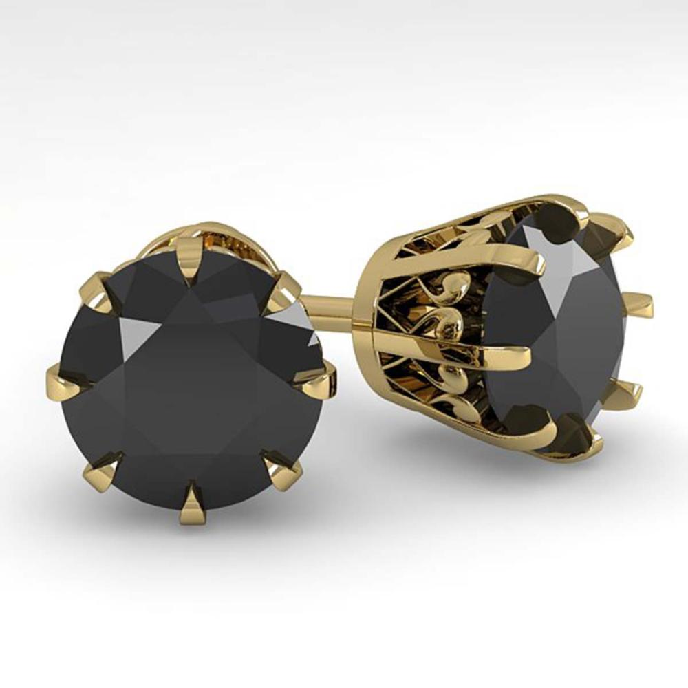 4.0 ctw Black Diamond Stud Solitaire Earrings 14K Yellow Gold - REF-114V2Y - SKU:29560