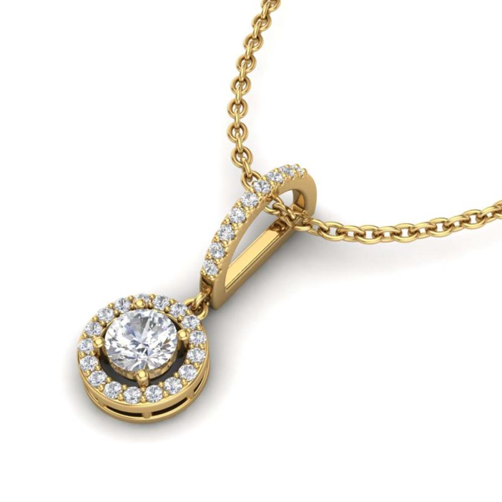 0.90 ctw Halo VS/SI Diamond Necklace 18K Yellow Gold - REF-115H8M - SKU:23272