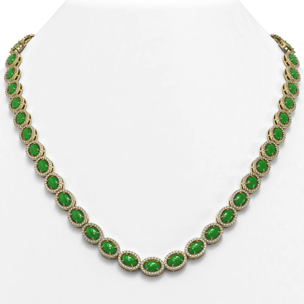 34.11 ctw Jade & Diamond Halo Necklace 10K Yellow Gold - REF-617A6V - SKU:45997