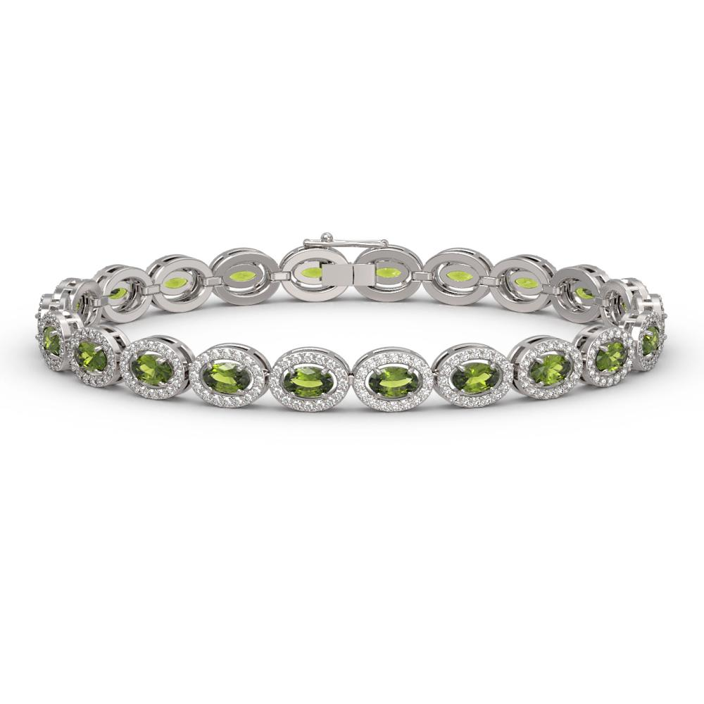 10.54 ctw Tourmaline & Diamond Halo Bracelet 10K White Gold - REF-290M9F - SKU:40370