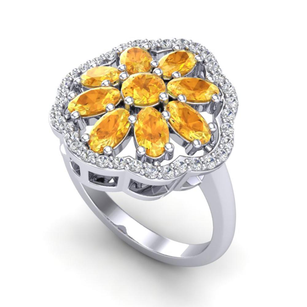 3 ctw Citrine & VS/SI Diamond Cluster Ring  10K White Gold - REF-63F6N - SKU:20777