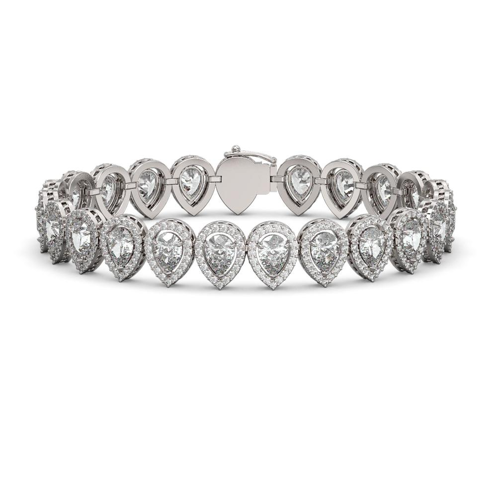15.85 ctw Pear Diamond Bracelet 18K White Gold - REF-2168K2W - SKU:42770