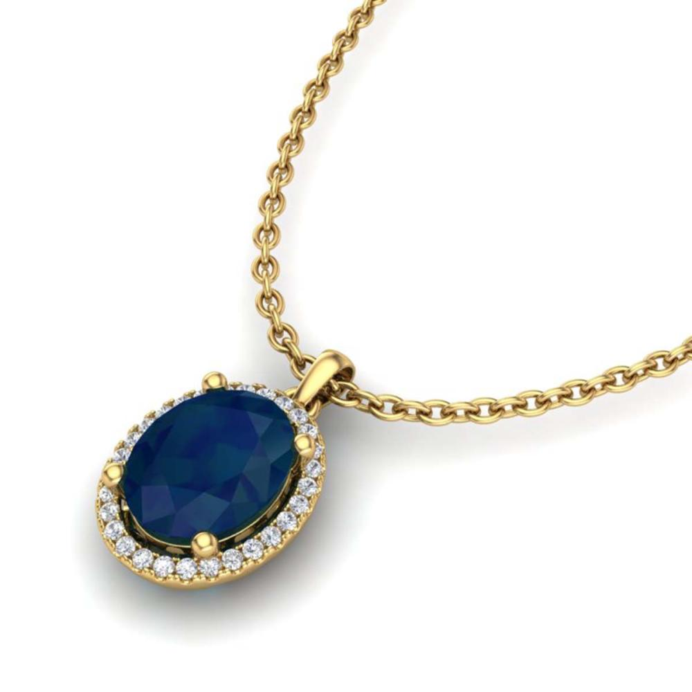 3 ctw Sapphire & VS/SI Diamond Necklace Halo 18K Yellow Gold - REF-59N3A - SKU:21090