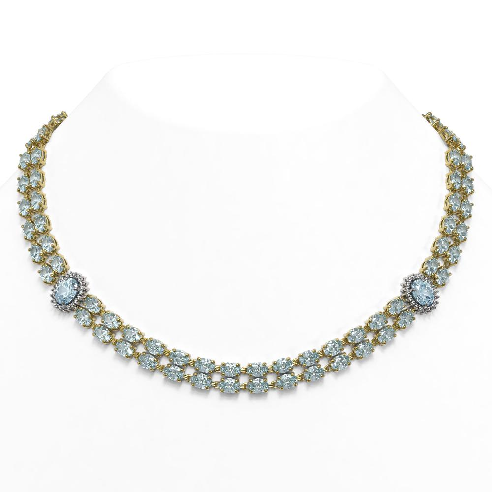 39.28 ctw Sky Topaz & Diamond Necklace 14K Yellow Gold - REF-369W3H - SKU:44200