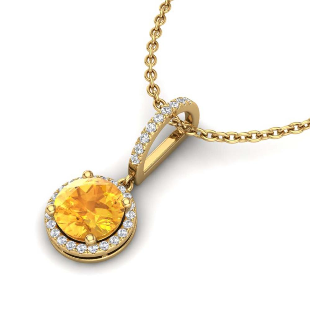 2 ctw Citrine & VS/SI Diamond Necklace 18K Yellow Gold - REF-54F7N - SKU:23194