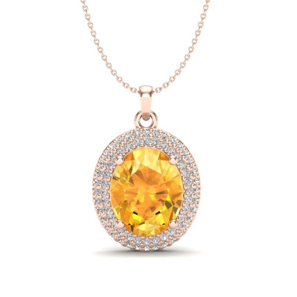 4 ctw Citrine & VS/SI Diamond Necklace 14K Rose Gold - REF-84M9F - SKU:20559